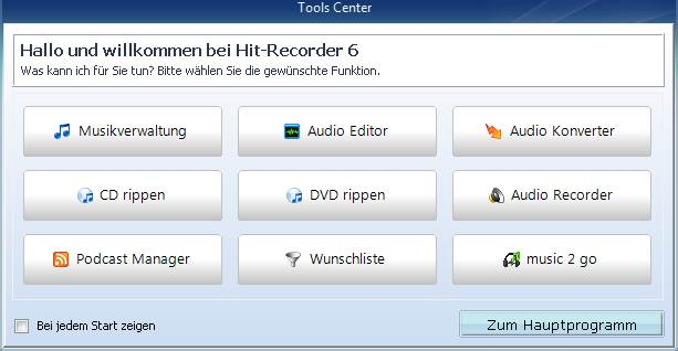 Screenshot vom Programm: Hit-Recorder 2